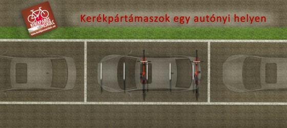 Egy gépkocsi parkolóhelyén öt kerékpártámasznál tíz bringa is elfér